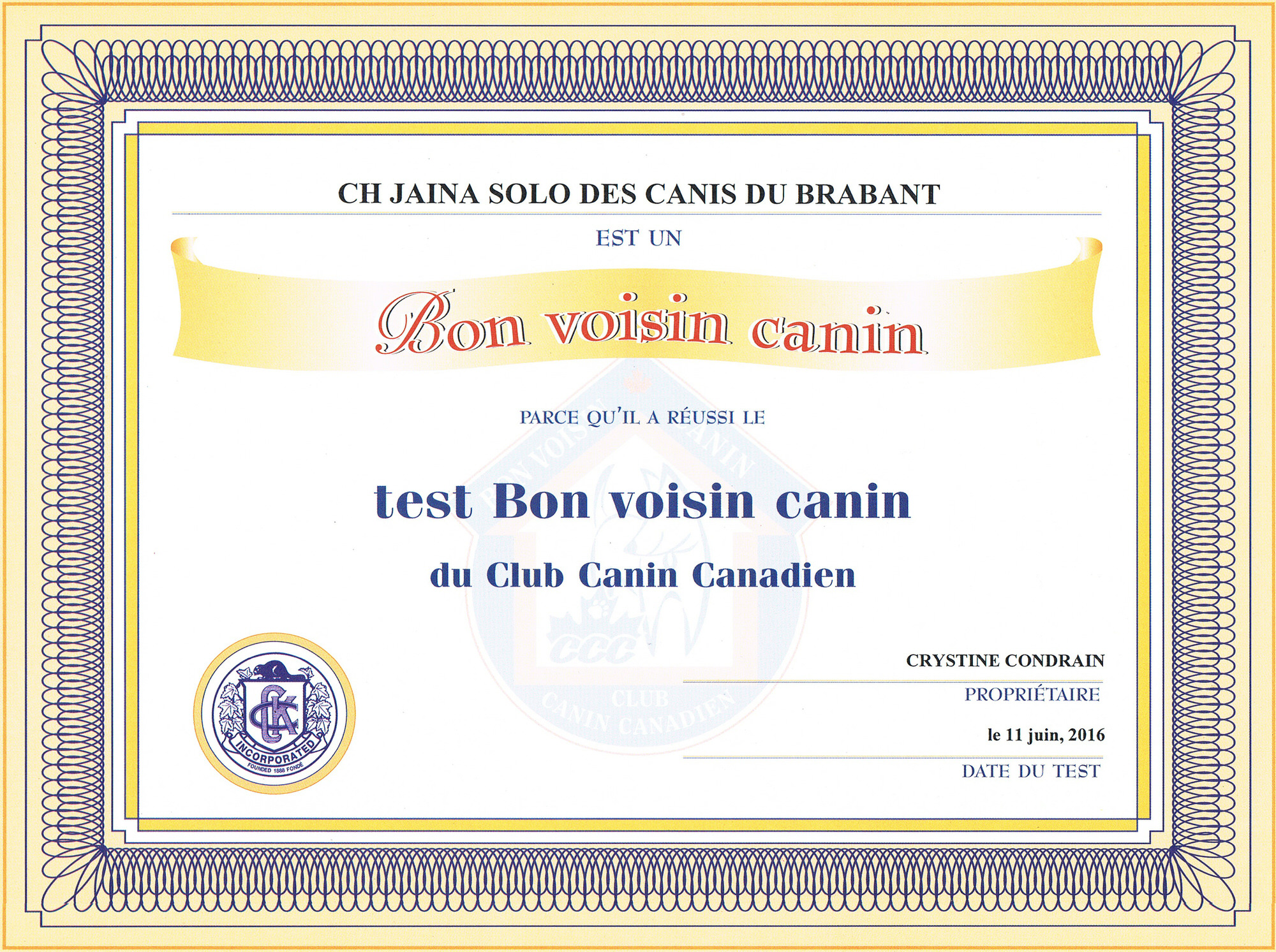 Jaina's Certificate - CKC Canine Good Neighbor (CGN)