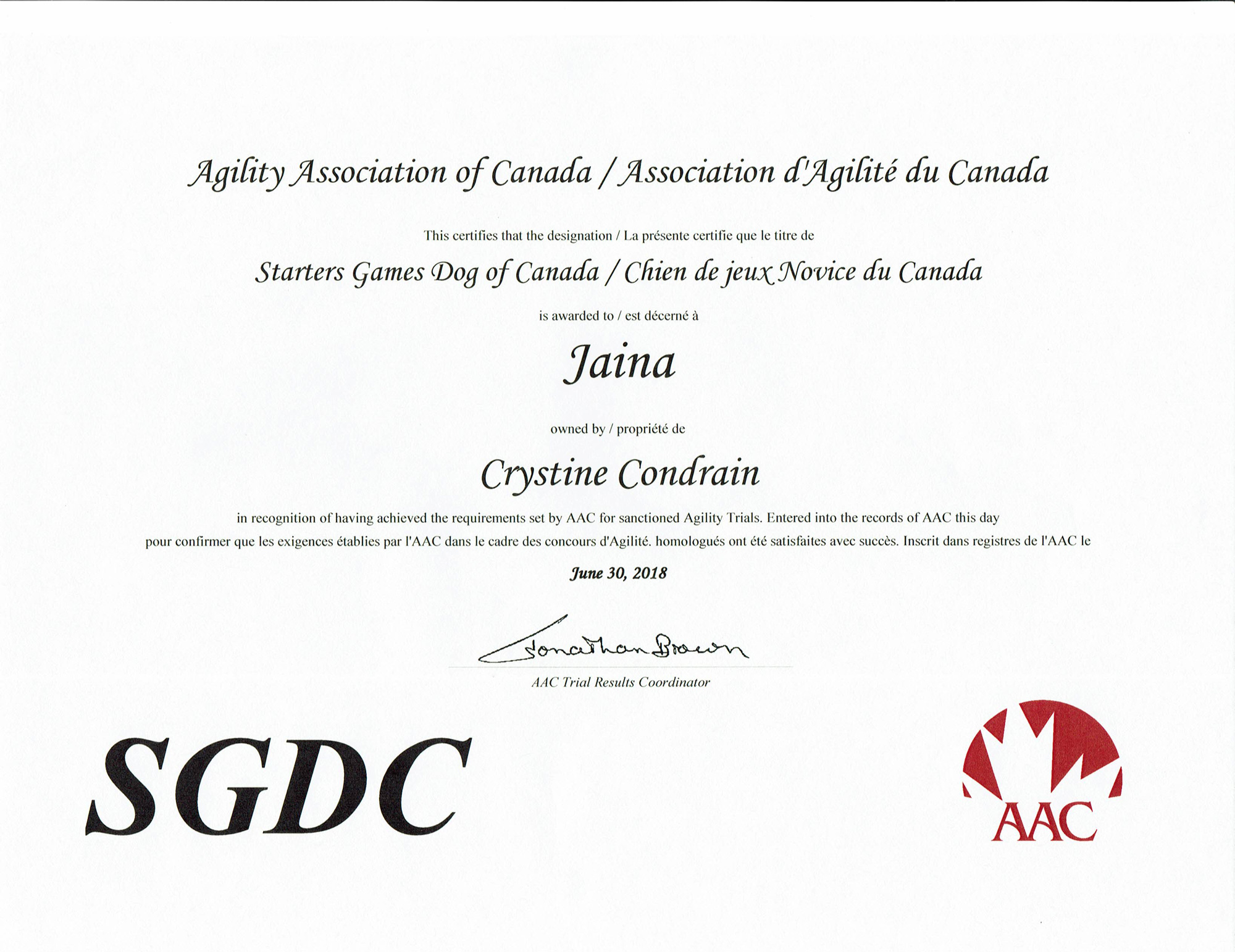 Agility title - Starters Games Dog of Canada (AAC)