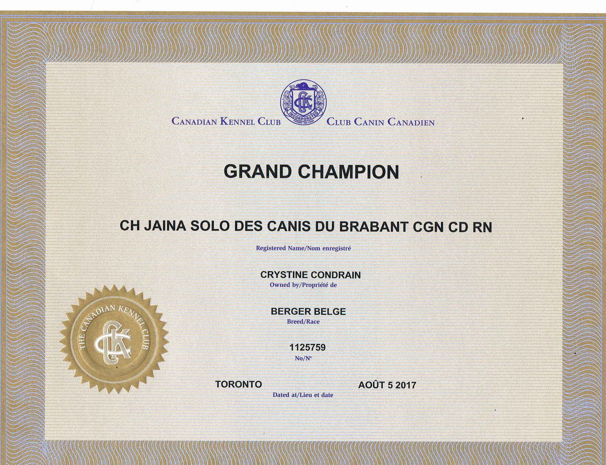 Certificate of Grand Champion (CKC)