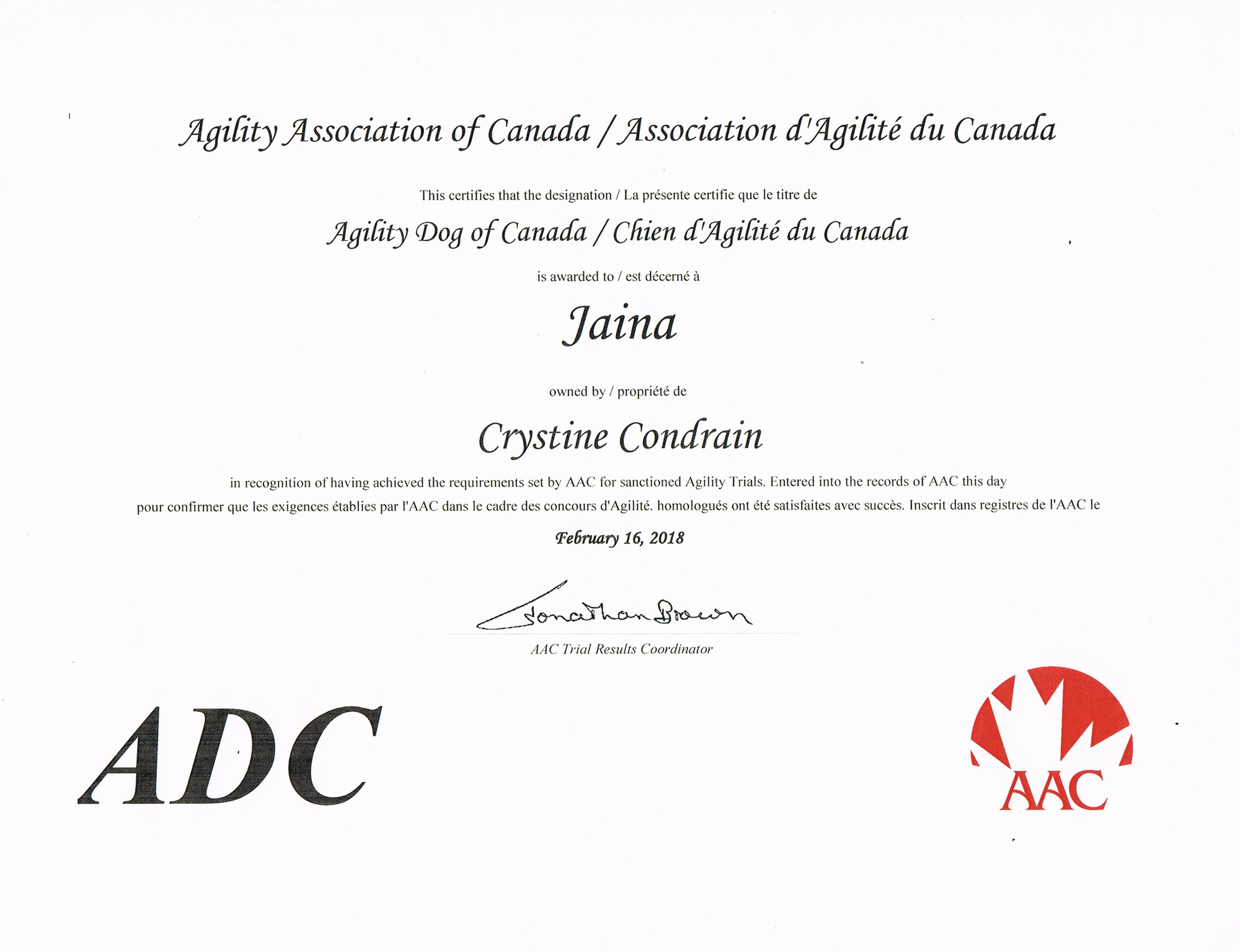 AAC Agility of Canada Dog Certificate