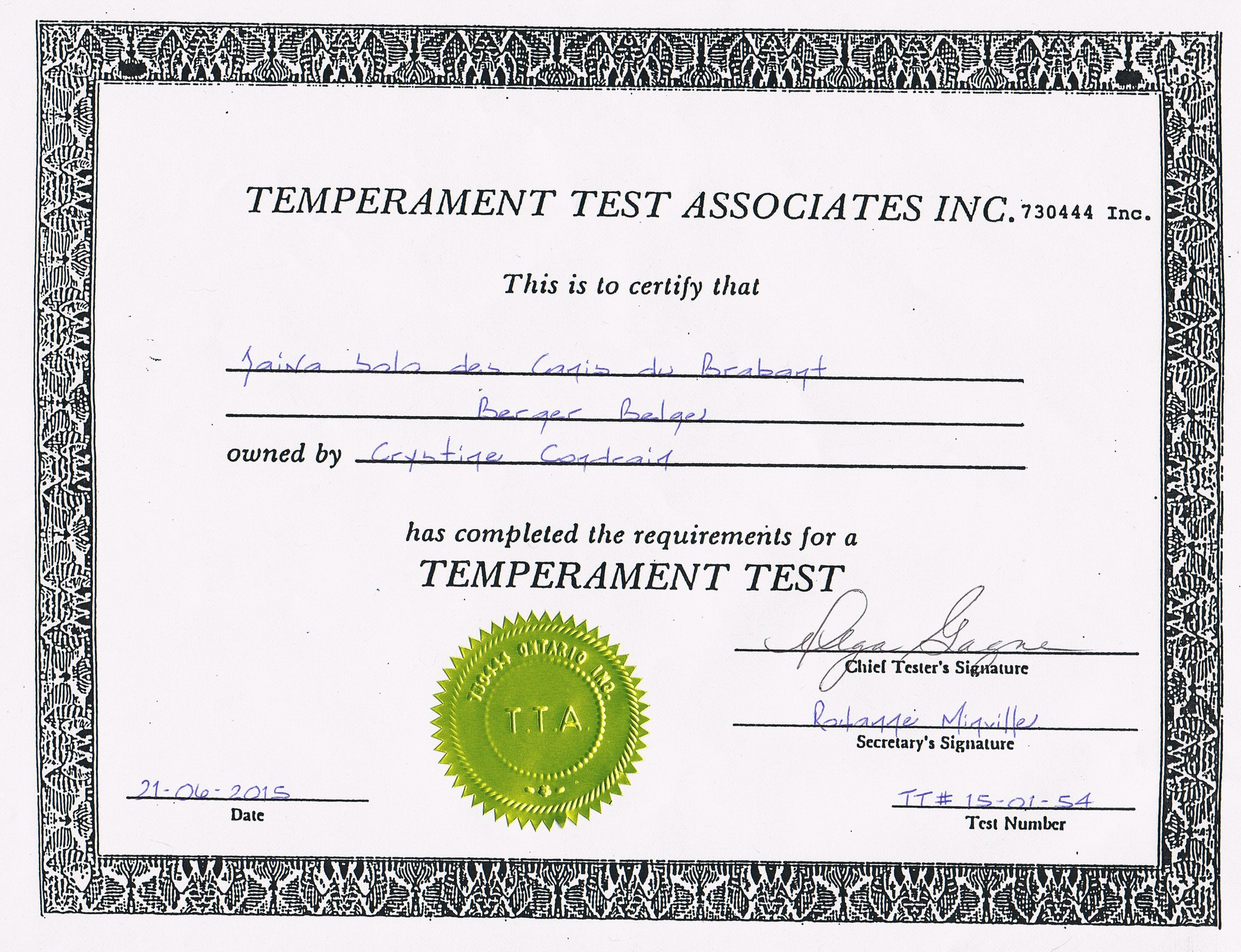 Temperament test