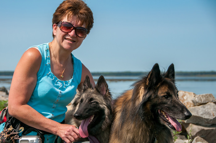 Crystine, Jaina and Obi-Wan on our trip down east - here in Rimouski!
